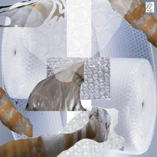 klausens-k-werk-kunstwerk-luftpolsterfolie-als aesthetische-weltzerstoerer-mit-logo
